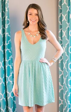 Breakfast at Tiffanys - and we must say, why not! Tiffany Blue Sundress Everly DR3475MNT is a stunning knit dress with a super flattering cut! Reserved yet somehow still alluring, this dress has tank straps, a low cut back, and fitted waistband at the lower ribcage.