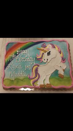Unicorn Cake Design, Easy Unicorn Cake, Unicorn Party, Unicorn Cakes, Birthday Sheet Cakes, Cake Birthday, 10th Birthday Parties, Birthday Ideas, 4th Birthday