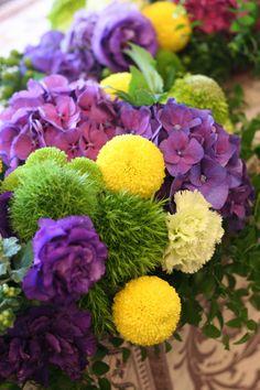 秋の装花 ウィンブルドンのテーマカラーで 如水会館様へ : 一会 ウエディングの花