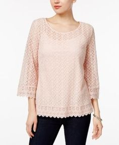 Style & Co Bell-Sleeve Lace Top, Only at Macy's - Pink S