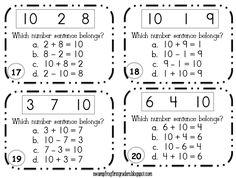 """Scoot Game"" Task Cards for Number Sentences - FREEBIE download!"