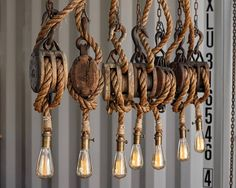 The Set Sail Pendant Light Rustic Wooden barn Pulley lamp
