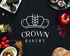 Love how the bread is integrated into the crown. For Debbie T. - Diet - Fashion - Woman's And Bakery Identity, Bakery Logo, Brand Identity, Bread Packaging, Logos Cards, Drinks Logo, Logo Food, The Crown, Food Design