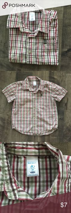 Plaid short sleeve boys Slight worn. Perfect condition. Button up with left side pocket. Old Navy Shirts & Tops Button Down Shirts