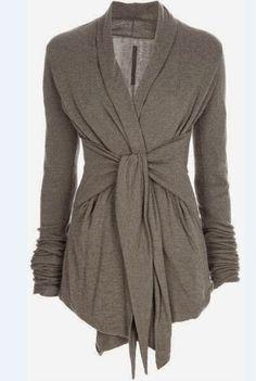 Stylish Turn-Down Collar Long Sleeve Self-Tie Design Draped Women's Coat