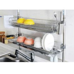 Stainless-Fixing-Dish-Drying-Rack-Double-Shelf-Sink-Kitchen-Organizer-New