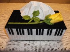 Piano Tissue Box Cover  reminds my of my grandma she always made these