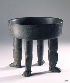Olmec. stone. height 20.5 cm Bowl standing on four human legs. .