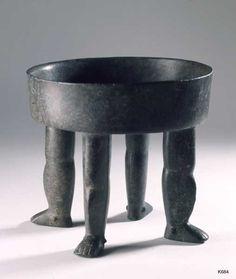 Olmec. stone. height 20.5 cm Bowl standing on four human legs. .
