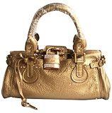 Chloe Paddington Satchel Golden Leather Lock Handbag