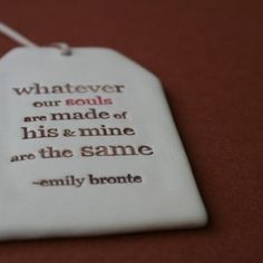 Image of ceramic quote tag - whatever our souls