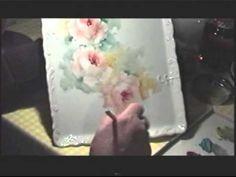 Doris Allen paints Roses on porcelain, China Painter Doris Drew Allen