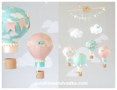 Hot Air Balloon, Baby Mobile, Travel Theme, Nursery Decor, Nursery Mobile, Blush Pink, Teal and Ivory, i184
