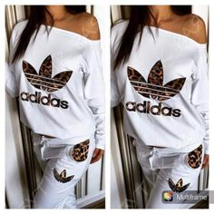 Adidas Women Shoes - Article: Stylish womens leopard print and lwhite sweatsuit - We reveal the news in sneakers for spring summer 2017 Mode Outfits, Sport Outfits, Fashion Outfits, Adidas Outfit, Adidas Pants, Adidas Jacket, Jogging Style, Mode Adidas, Nike Clothes