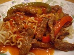 One of my favorites!  Pepper Steak and it is fairly easy and inexpensive.  I like to use a sirloin steak but will generally go with whatever steak is on sale.  I  also prefer all green peppers just because they are not as sweet and I prefer that in this dish.  .
