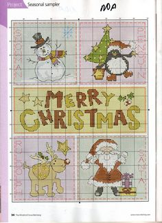 Sampler - snowman, penguin, Merry Christmas, Rudolph, Santa.  Free pattern.  {no colour legend}