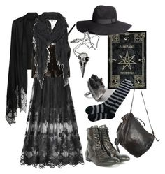 Polyvore challenge: Wizard/witch by n-nyx on Polyvore featuring Shakuhachi, H by Hudson, Ann Demeulemeester, Pamela Love, AllSaints, H&M, Valentino, witch, darkmori and shortcuttothestars