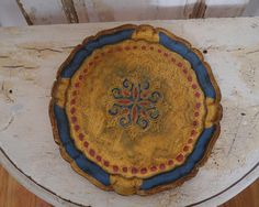 Small Round Florentine Tray  Gold Blue Rose