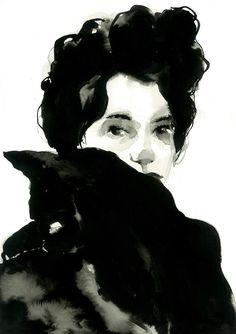 Julia Santa Olalla — Indian ink portrait