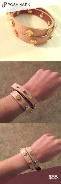 Tory Burch wrap bracelet This blush pink Tory Burch wrap bracelet is the cutest accessory! It looks amazing by itself or is the perfect addition to any arm party 💖 NO signs of wear (blemishes, scratches, tearing etc) brand new looking and maybe only worn a handful of times!! Tory Burch Jewelry Bracelets