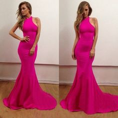 mermaid Prom Dress,long Prom Dress,halter Prom Dress,hot pink Prom Dress,evening dress,PD757