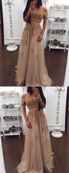 Gold Lace Beaded Sweetheart Tulle Prom Dresses Off-the-shoulder Evening Gowns 2018 Elegant G059