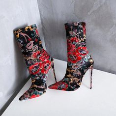 871a2154f46 Shoespie Suede Slip-On Floral Stiletto Heel Ankle Boots