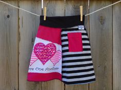 Girls upcycled skirt, Love one another, size: Large by SewRevival on Etsy