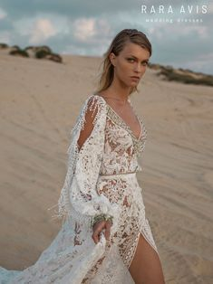 Wedding gown Omrish by Rara Avis Wild Soul collection. Long sleeve romantic elegant whimsy chic bohemian boho style lace A-line wedding dress. Based in Vancouver, Canada. Non White Wedding Dresses, Western Wedding Dresses, Luxury Wedding Dress, Bohemian Wedding Dresses, Bridal Dresses, Wedding Gowns, Bridesmaid Dresses, Bohemian Weddings, Bohemian Bride