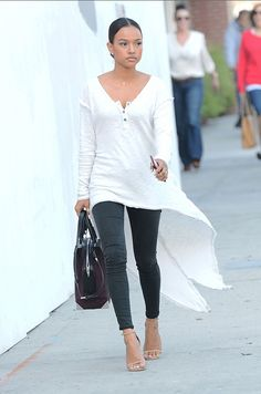 123 Karrueche Tran's Truly Madly Deeply Extreme High Low White Henley Top