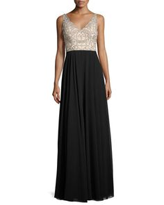 Sleeveless+Beaded+Two-Tone+Gown,+Champagne+by+Aidan+Mattox+at+Neiman+Marcus.