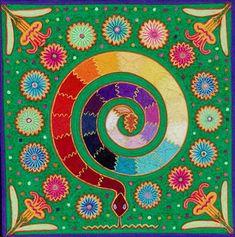 serpiente - puntos de vision fine; huichol yarn painting