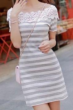 Fashionable Boat Neck Short Sleeve Spliced Striped Women's Dress