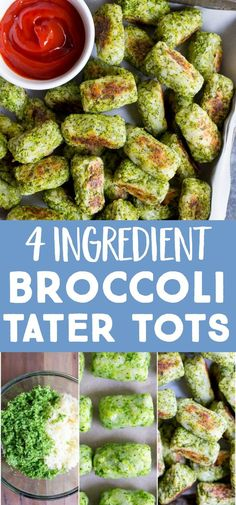healthy 4 Ingredient Broccoli Tater Tots are made from just potato, broccoli, olive oil and salt! These are a great way to get kids to eat their veggies! Make a huge batch and freeze them so you always have them on hand for an easy side dish! Tater Tot Recipes, Baby Food Recipes, Cooking Recipes, Free Recipes, Crockpot Recipes, Chicken Recipes, Dinner Recipes, Vegetable Recipes, Vegetarian Recipes