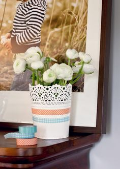 washi tape on flower pots to add color/patterns