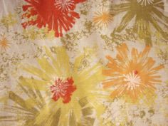 EXUBERANT 60s midcentury vintage floral curtains drapes pinch-pleated lined WOW!