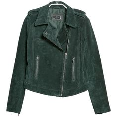 Pre-owned Mango Cazadora Biker Pecar Green Size Us L Medium Green... ($158) ❤ liked on Polyvore