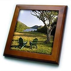 """Adirondack Chairs, Mt Desert Island, Maine - US20 JMO0684 - Jerry & Marcy Monkman - 8x8 Framed Tile by 3dRose. $22.99. Inset high gloss 6"""" x 6"""" ceramic tile.. Cherry Finish. Solid wood frame. Dimensions: 8"""" H x 8"""" W x 1/2"""" D. Keyhole in the back of frame allows for easy hanging.. Adirondack Chairs, Mt Desert Island, Maine - US20 JMO0684 - Jerry & Marcy Monkman Framed Tile is 8"""" x 8"""" with a 6"""" x 6"""" high gloss inset ceramic tile, surrounded by a solid wood frame with pre-drilled ke..."""