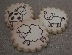 Vintage Farm Animal Baby Shower Favors by JaclynsCookies on Etsy Baby Shower Vintage, Baby Shower Fun, Baby Shower Favors, Baby Shower Themes, Baby Showers, Shower Ideas, Farm Cookies, Cookies For Kids, Barnyard Party