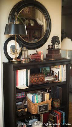 Bookshelf makeover with CeCe Caldwell paint and Tartanware accents | Celebrating everyday life with Jennifer Carroll