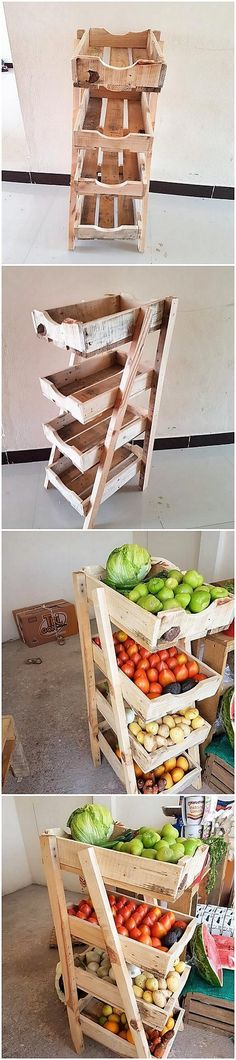 Sometimes the movement of the heavy designed vegetable rack design is rather difficult to do from one place to another. In all such prospects, we would bring you out with the mind-blowing idea of the pallet vegetable or fruit rack that can act as best to arrange fruits and vegetables in manageable way.