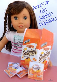 These American Girl Goldfish Printables are FREE! This tutorial makes it easy to make your own American Girl Doll Goldfish. Comida American Girl, American Girl Food, Ropa American Girl, American Girl Birthday, American Girl House, American Girl Parties, American Girl Crafts, American Girl Dolls, American Girl Storage