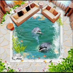 Floor Murals, Floor Art, Fish Patterns, Flower Patterns, 3d Flooring, Bath Linens, Colorful Fish, Simple Flowers, Decorate Your Room
