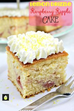 Lemon Drizzle Raspberry Ripple Cake. An easy, soft and great tasting cake, perfect with a cup of tea! #cake #lemon #raspberry #easyrecipe