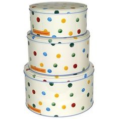 Polka Dot Set of 3 Round Cake Tins Polka Dot Cakes, Polka Dots, Shabby Chic Storage, Kitchen Must Haves, Emma Bridgewater, Cake Tins, Round Cakes, Coffee Cans, Storage Containers