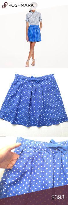 "J. Crew Polka Dot Skirt J. Crew Polka Dot gartered skirt in size 8 with dual pocket. Length 17.5"", waist 16"". EUC J. Crew Skirts Midi"