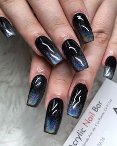 Acrylic nails design ideas inspire you 2019 Today I have Collected more than Acrylic color of the nails. Hope you will get some inspiration of your nail design.Please do not forget to pin it to your board if you like this ideas. Diy Nails, Glitter Nails, Cute Nails, Pretty Nails, Black Nail Designs, Cute Nail Designs, Acrylic Nail Designs, Fingernail Designs, Wedding Acrylic Nails