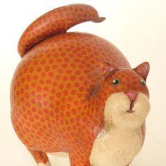 Primitive Folk Art Alebrije Cat Gourd Sculpture от mamagourds