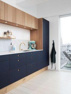 Diy Kitchen Island, New Kitchen Cabinets, Kitchen And Bath, Kitchen Wood, Wood Cabinets, Ikea Cabinets, Kitchen Grey, Basic Kitchen, Modern Cabinets