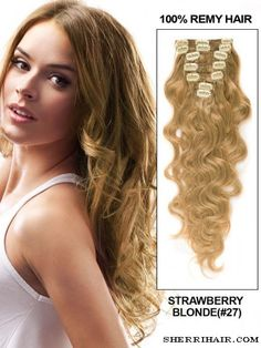 """24"""" 7 Piece Deluxe Set Body Wave Clip In Indian Remy Human Hair Extension - Strawberry Blonde(#27)"""